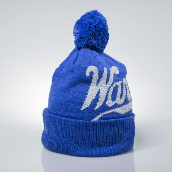 Mitchell & Ness czapka zimowa winter beanie Golden State Warriors blue KV97Z GREYTON SCRIPT POM BEANIE