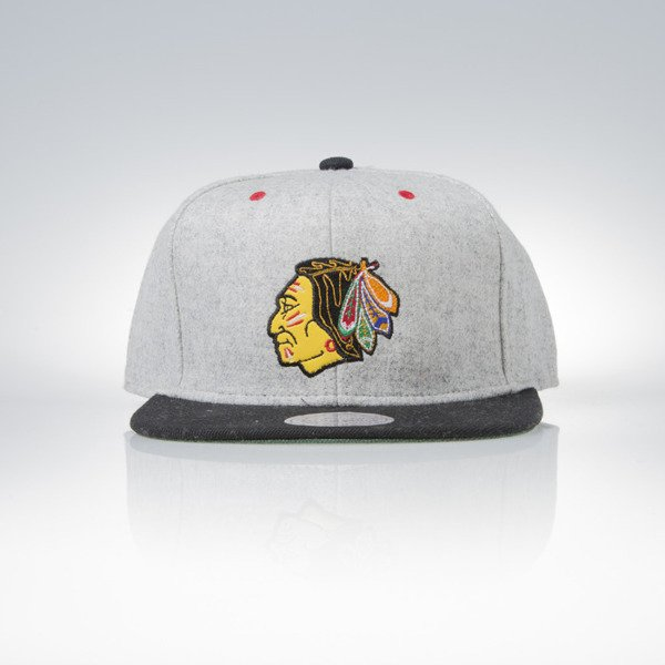Mitchell & Ness snapback czapka Chicago Blackhawks grey heather / black Melange Flannel EU912