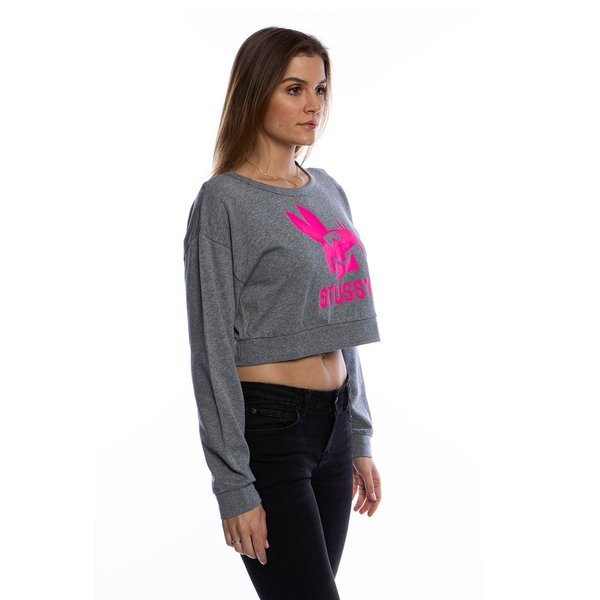 Stussy bluza Stay Paid Cropped Crew grey heather