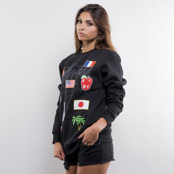 Stussy bluza WT Flags Crew black (World Tour) WMNS