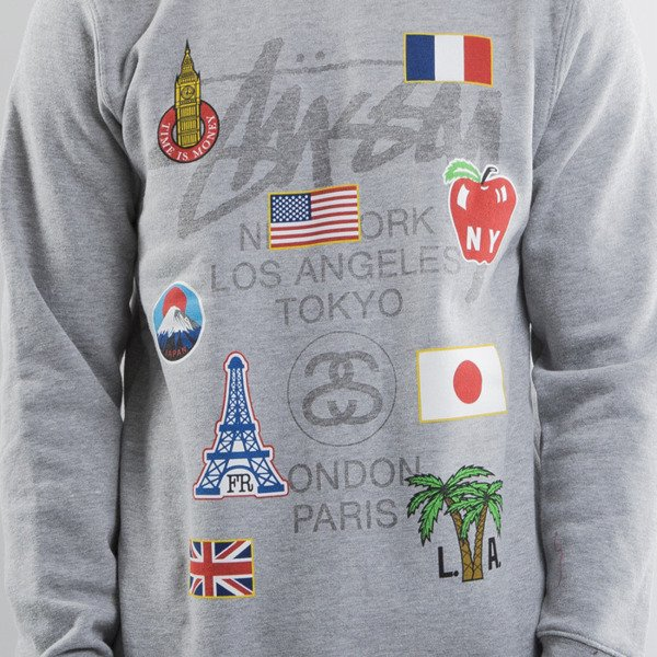 Stussy bluza WT Flags Crew grey heather (World Tour)