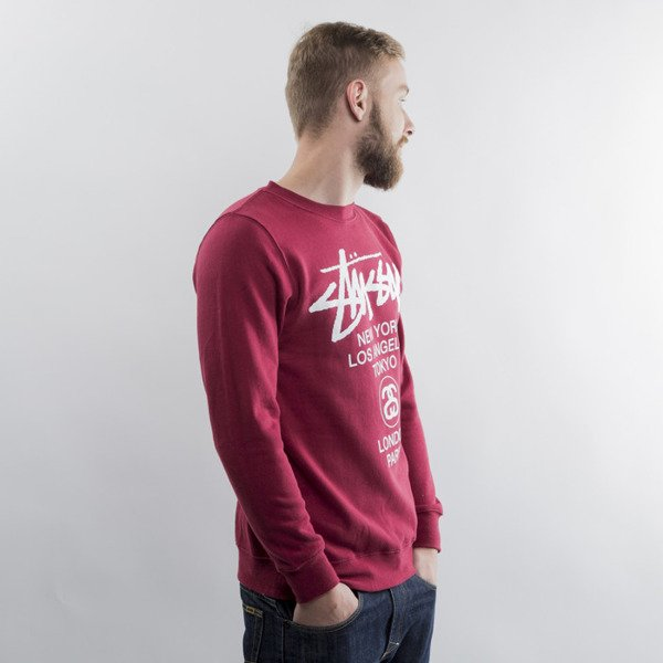 Stussy bluza World Tour Crew dark red