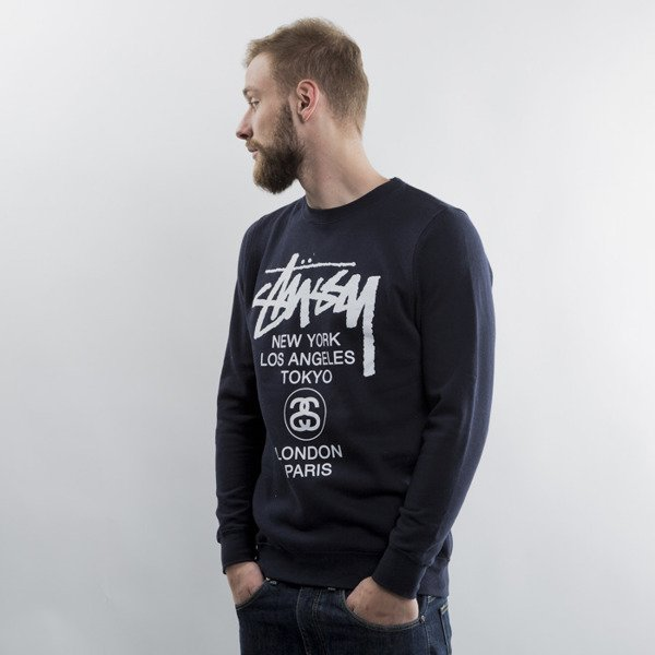 Stussy bluza World Tour Crew navy