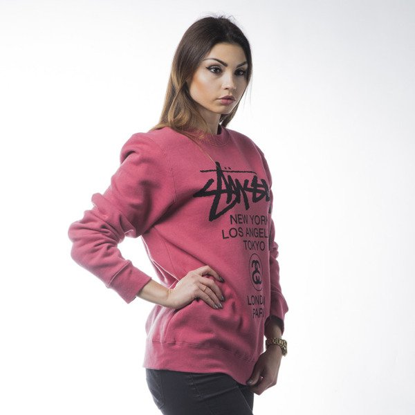 Stussy bluza World Tour Crew salmon WMNS