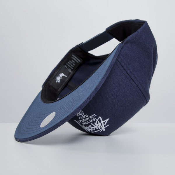 Stussy czapka snapback World Tour navy
