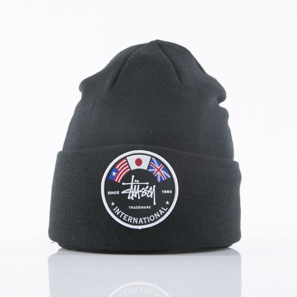 Stussy czapka zimowa International Flags Beanie black