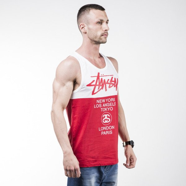 Stussy koszulka tank top City Block red