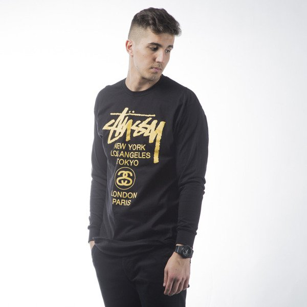 Stussy longsleeve koszulka World Tour black / yellow