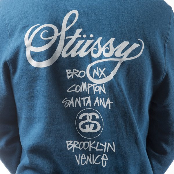 Stussy sweatshirt bluza World Tour Crew ocean blue