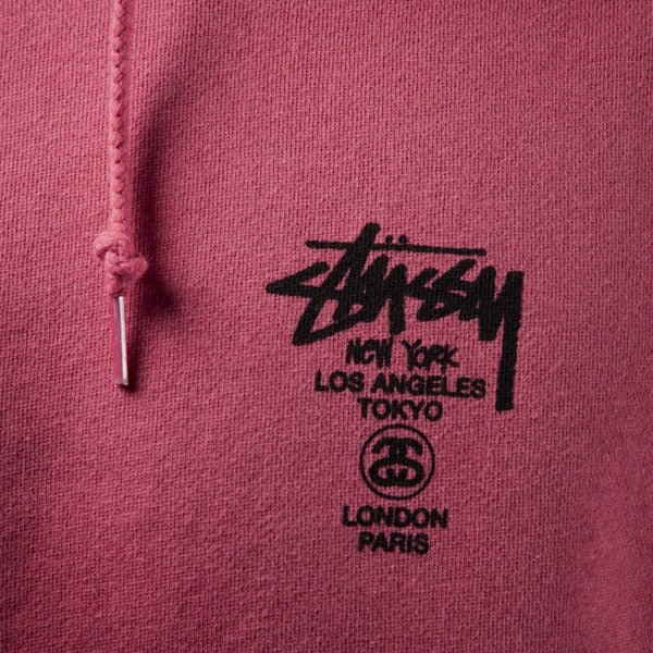 Stussy sweatshirt bluza World Tour Hood salmon