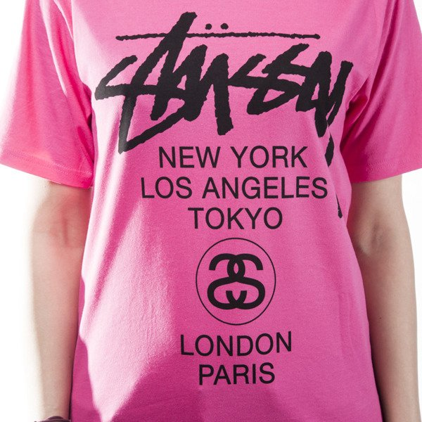 Stussy t-shirt koszulka World Tour pink WMNS