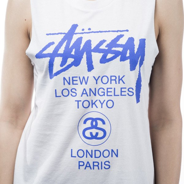 Stussy tank top koszulka World Tour Muscle white WMNS