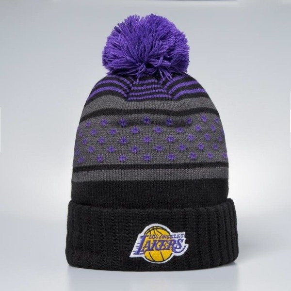 25418cdc191 ... Mitchell   Ness Los Angeles Lakers Beanie black   purple Highlands 2.0  Pom ...