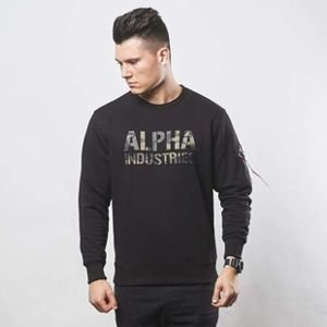 Alpha Industries Camo Print Sweat black / woodland