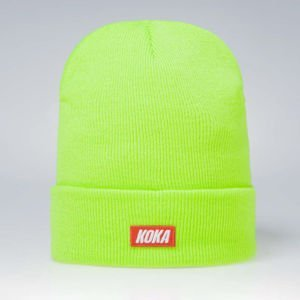Koka Beanie Small Box Logo neon green