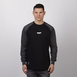 Mass Denim Classics Small Logo Longsleeve black / dark heather grey