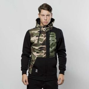 Mass Denim Sweatshirt Hoody Zip Half Camo black