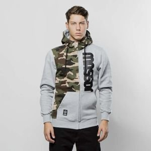 Mass Denim Sweatshirt Hoody Zip Half Camo light heather grey