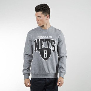 Mitchell & Ness sweatshirt crewneck Brooklyn Nets grey heather Black and White Team Arch