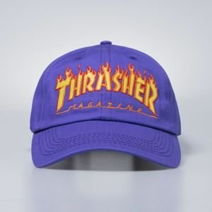 Thrasher Strapback Flame Old Timer Hat - purple