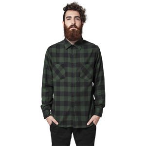 Urban Classics Checked Flanell Sweat Sleeve Shirt black / forest