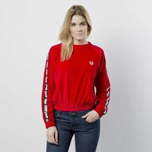 Women sweatshirt KOKA Fake-Tape Velvet Crewneck red