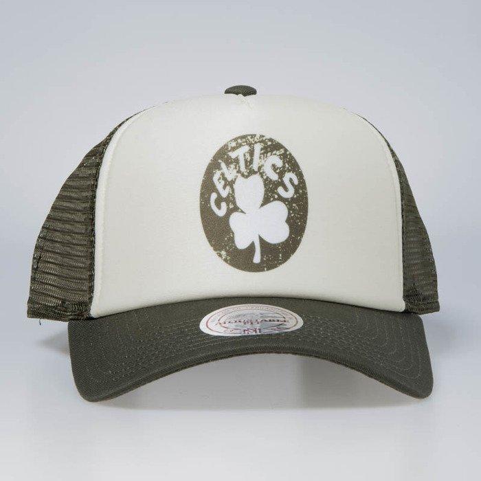 79be8bcc038 ... Cap Mitchell   Ness snapback Boston Celtics stone   olive The Distressed  Print P.P Trucker ...