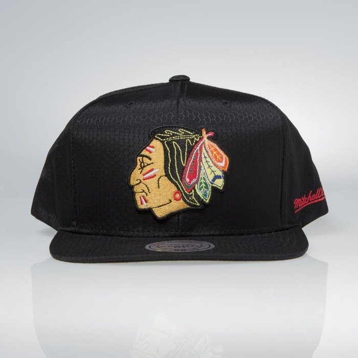 Cap Mitchell   Ness snapback Chicago Blackhawks black Black Ripstop  Honeycomb  bf8dd9a1f8fa
