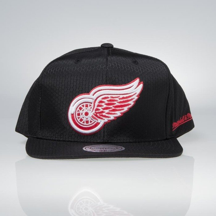best loved 4e4bb a35eb ... real cap mitchell ness snapback detroit red wings black black ripstop  honeycomb 95005 786d8