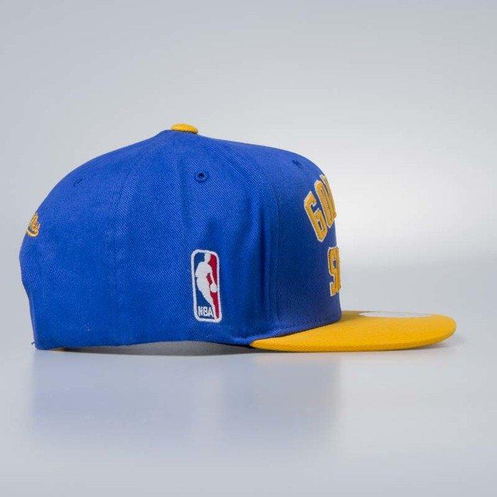 ... Cap Mitchell   Ness snapback Golden State Warriors blue Wordmark Jersey  ... 5b06fb1d71b