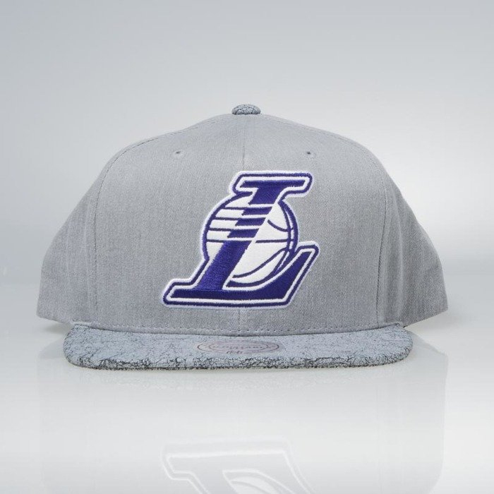 Cap Mitchell   Ness snapback Los Angeles Lakers grey Cracked ... 23e9e52ddc92
