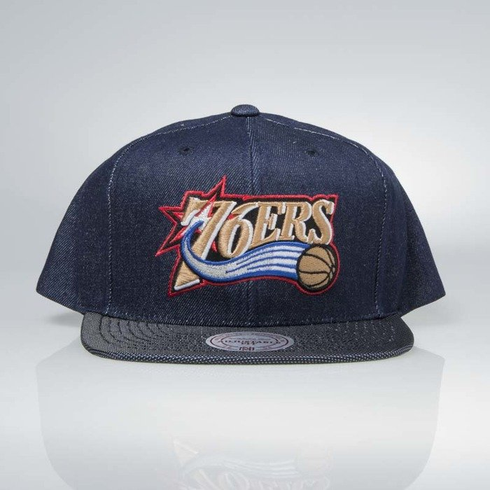 60692033691fe Cap Mitchell   Ness snapback Philadelphia 76ers denim Raw Denim 3T ...