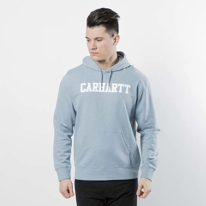 491e71bf37 ... Carhartt WIP Hooded College Sweat dusty blue heather   white I024669 ...