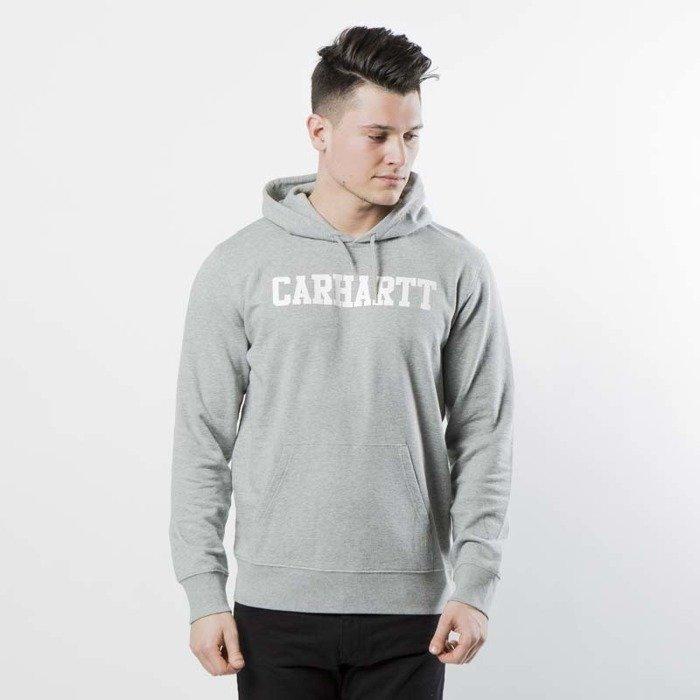 6957ab6b455 ... Carhartt WIP Hooded College Sweat grey heather   white I024669 ...