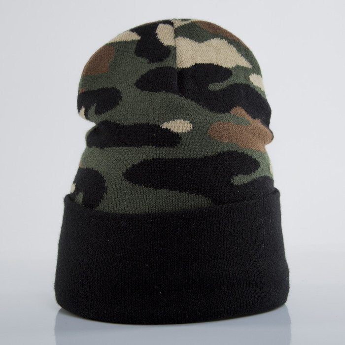 3c5bfd895e8 ... Cayler   Sons Black Label winter cap Plated Old School Beanie woodland    black (BL ...