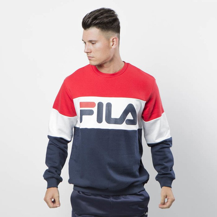 a00d5c7aaad3 Fila Sweatshirt Man Straight Blocked Crew iris-bright white-true red ...