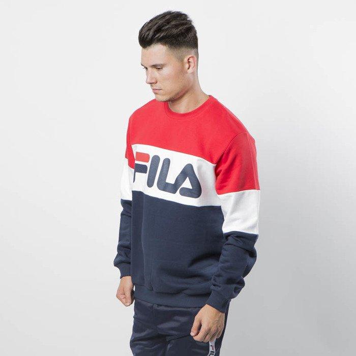 Fila Sweatshirt Man Straight Blocked Crew iris bright white true red
