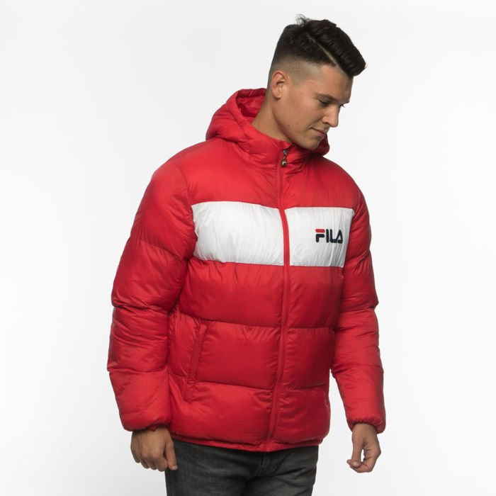 Fila Winter Jacket Fila Floyd Puff Hood Jacket true red bright white
