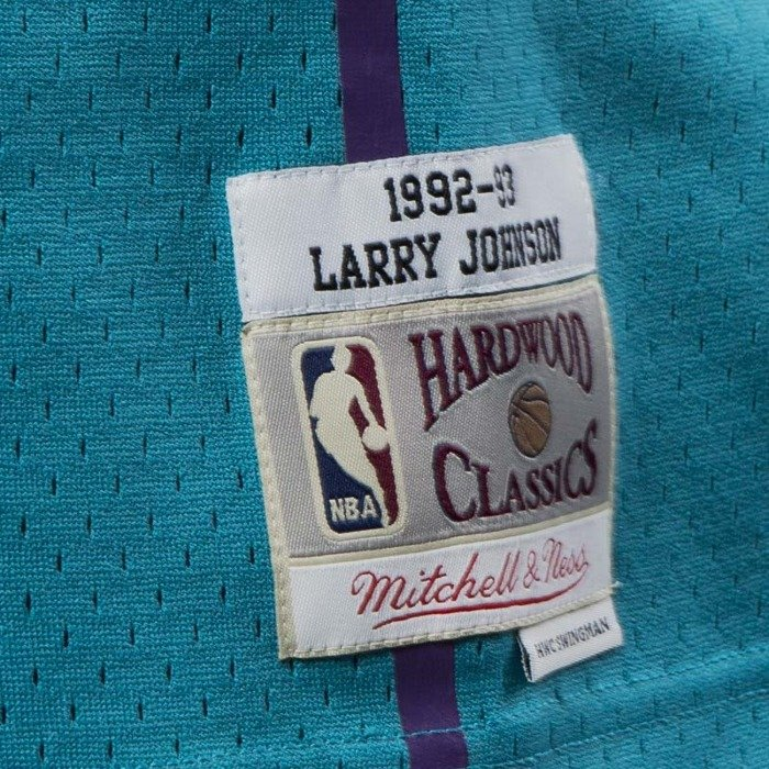58ea107d2e7 Mitchell   Ness Charlotte Hornets  2 Larry Johnson blue Swingman Jersey ...