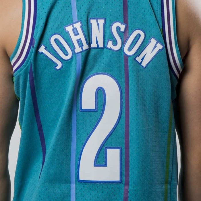 033e1f6e31e ... Mitchell   Ness Charlotte Hornets  2 Larry Johnson blue Swingman Jersey  ...