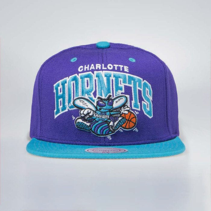 buy popular 9e72d 0423a Mitchell   Ness Charlotte Hornets Snapback Cap purple   teal Team Arch    Bludshop.com