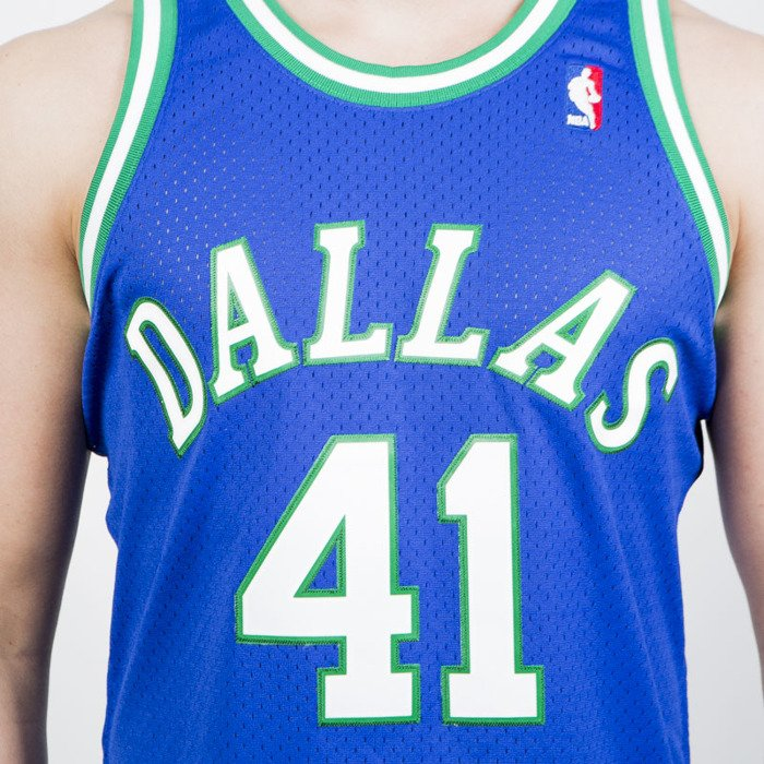 aafd07813 ... Mitchell   Ness Dallas Mavericks  41 Dirk Nowitzki blue   green Swingman  Jersey ...