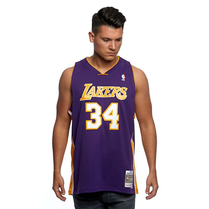 Mitchell & Ness Los Angeles Lakers #34 Shaquille O'Neal purple ...