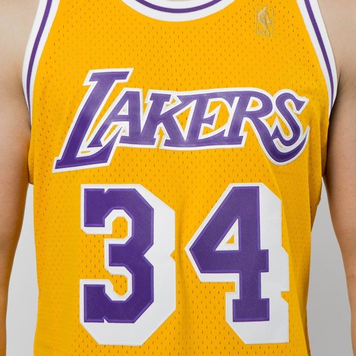 7f3e08230 ... Mitchell   Ness Los Angeles Lakers  34 Shaquille O Neal yellow Swingman  Jersey ...