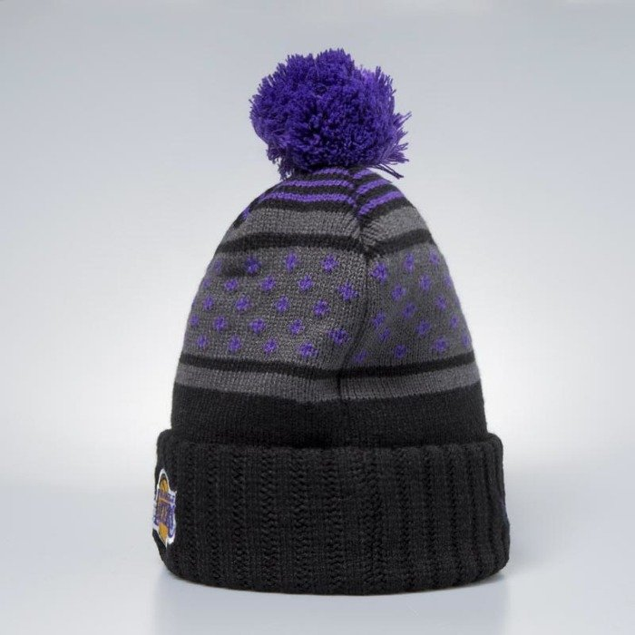 competitive price 05dda 902e9 ... real mitchell ness los angeles lakers beanie black purple highlands 2.0  pom 5bd71 c6edc