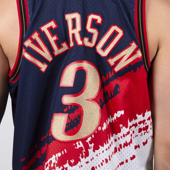 promo code 1193f 07915 Mitchell & Ness Philadelphia 76ers #3 Allen Iverson navy/red/white Platinum  Independence Jersey