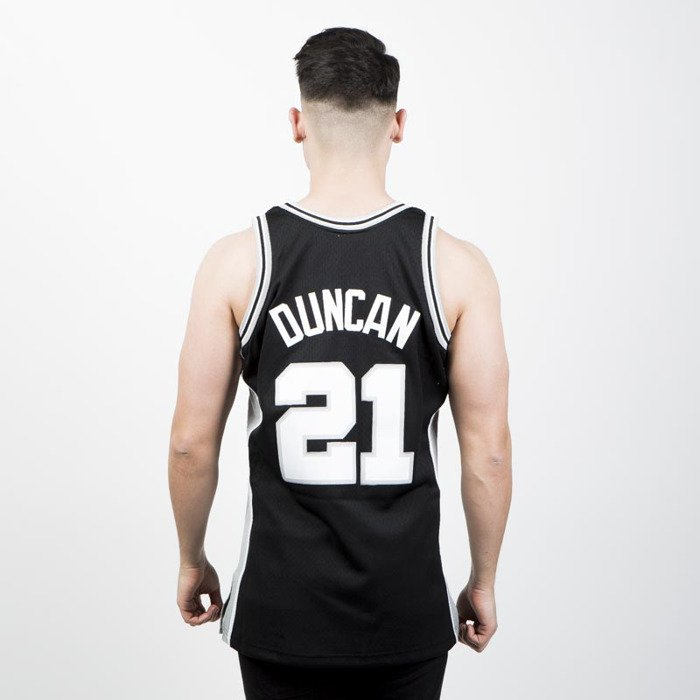 ca85c9a80 ... Mitchell   Ness San Antonio Spurs  21 Tim Duncan black white Swingman  Jersey ...
