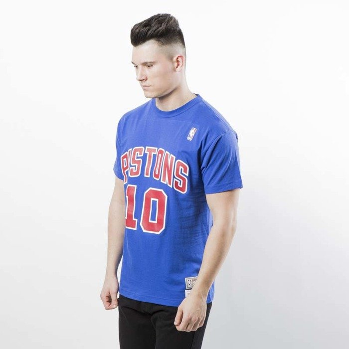 99dbabf019a ... Mitchell   Ness Detroit Pistons  10 Dennis Rodman T-shirt royal Name    Number ...