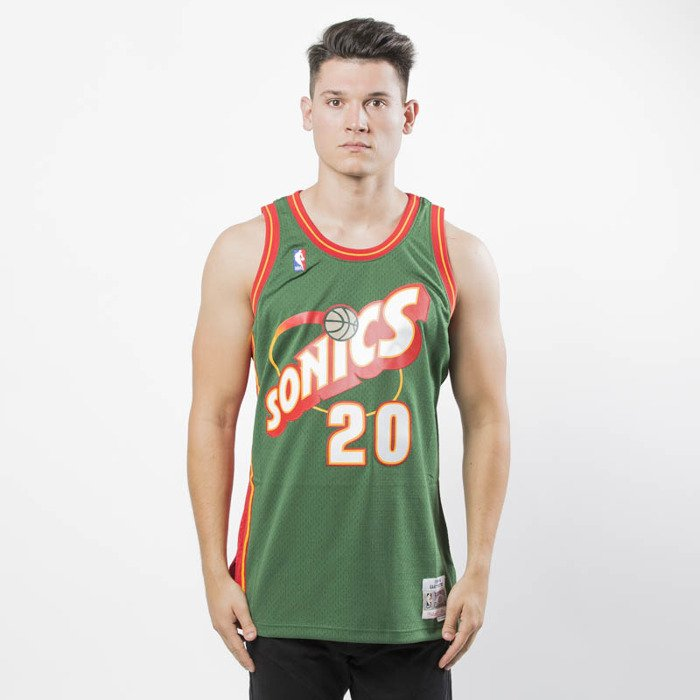 88d3d225bea7 ... Mitchell   Ness Seattle SuperSonics  20 Gary Payton green Swingman  Jersey ...
