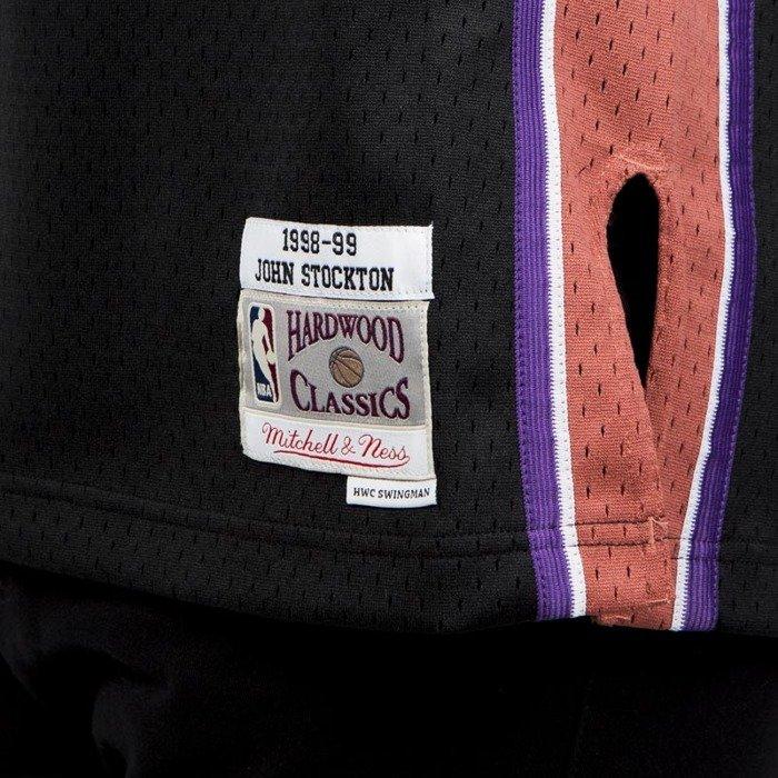 Mitchell   Ness Utah Jazz  12 John Stockton black pink Swingman Jersey ... b035fa25b